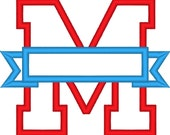 One letter M Collegiate Varsity Split block Letter with banner machine embroidery applique design and mini font-  3, 4, 5  inches