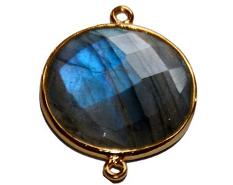 AAA Quality Round Shape of Labradorite  Faceted Briolette , Gold Plated Double Side Connectors Stone Size 20mm by 20mm