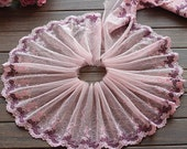 2 Yards Lace Trim Pink Floral Embroidered Scalloped Tulle Lace 7.48 Inches Wide High Quality