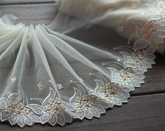 2 Yards Embroidered Lace Trim Light Yellow Floral Embroidered Tulle Lace Trim 7 Inches Wide