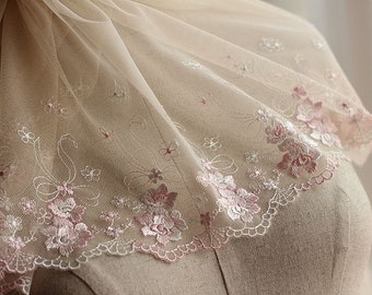 2 Yards Lace Trim Floral Embroidered Tulle Lace 11 Inches Wide High Quality