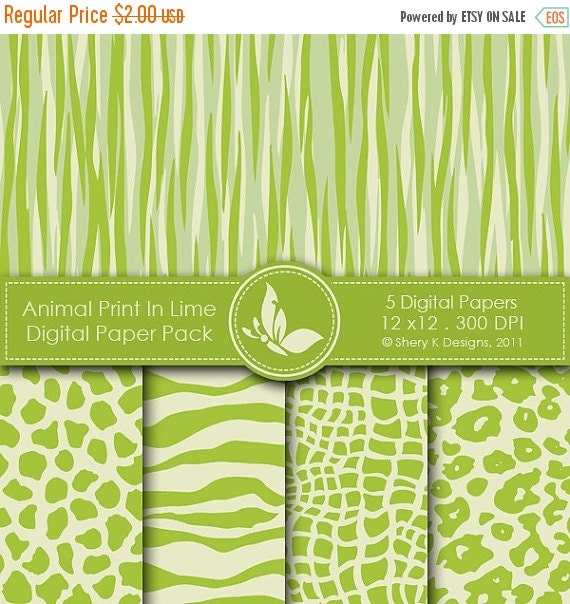 50% off Animal Print In Lime Paper Pack - 5 Digital papers - 12 x12 - 300 DPI