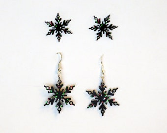 Black Sparkle Snowflake Earrings, 2 Pairs