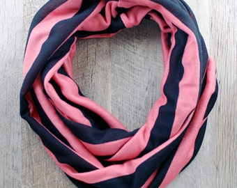 Striped Infinity Scarf Coral Pink and Black