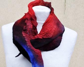 Beautiful shawl, nuno felted scarf, silk, wool, nuno, felted, gift, fibre art, blue, brown, red