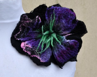 Felted brooch , flower, brooch, felt, nuno felt, black, purple, green