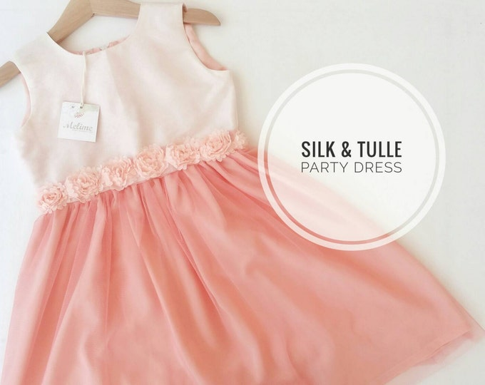 Peach Party Dress, Little girl Silk Party Dress, Elegant Tutu dress for Little girls, Toddler Peach party dresses