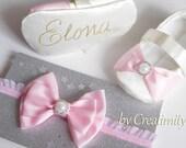 Ivory personalized christening baby girl shoes,baby baptism,balerina shoes,wedding flower girl,soft sole shoes,crib shoes,baby headband