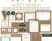 touchdown or tutu football gender reveal 1431 package AS IS Matching ticket banner bingo thank you card, water bottle wraps, cupcake toppers