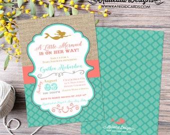 mermaid baby shower invitation bridal shower 1365 wedding hen party bachelorette high tea rehearsal dinner engagement shabby chic invitation