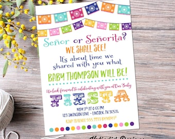 gender reveal fiesta invitation gender neutral mexican senor senorita baby shower couples sprinkle Papel Picado cinco de mayo item 1462