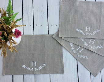 Personalized linen placemats, burlap placemats, custom placemats, customized table mats, personalized linen