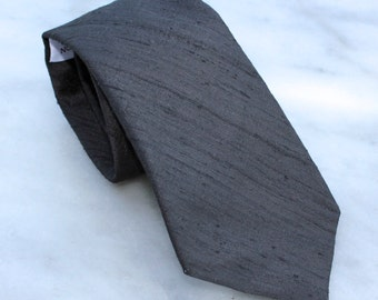 Black Dupioni Silk Necktie - wedding ties, groomsmen gifts - customize to any color you want!