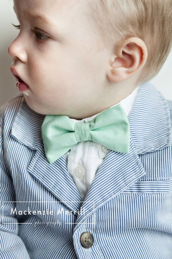 Boys Mint Green Bow Tie - clip on