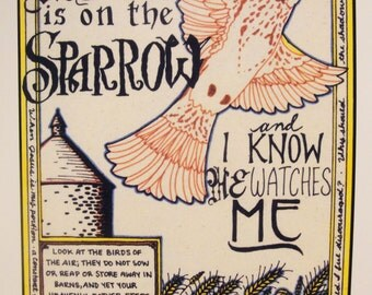 His Eye Is On The Sparrow print 8.5 x 11