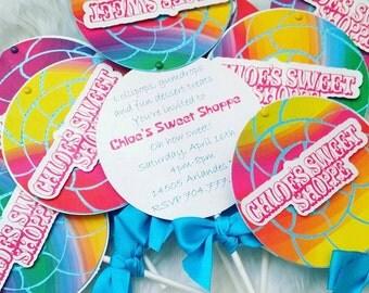 Sweet Shoppe-Candy-lollipop Invitation