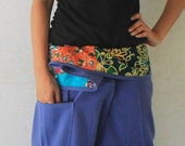 patchwork on waist and blue long Thai fisherman pants hand weave cotton,size S-XL,unisex pants,yoga,spa pants.