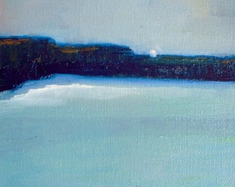 Calm Ocean Original Oil Painting Wall Art Abstract Painting Landscape Painting - daily painting - canvas panel   6x8 - minimalist