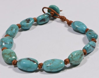 Nevada Turquoise Bracelet Knotted on Natural Leather Cord Turquoise Jewelry