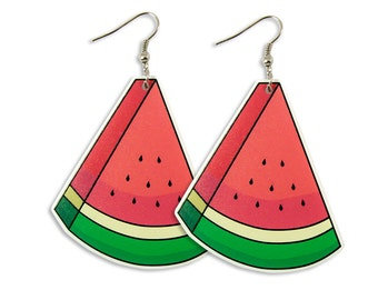 Watermelon Earrings - Red Pink Fruity Laser Cut Perspex Acrylic Illustration Funny Quirky Big Statement Pop Food Colorful Bold Edgy Kitsch
