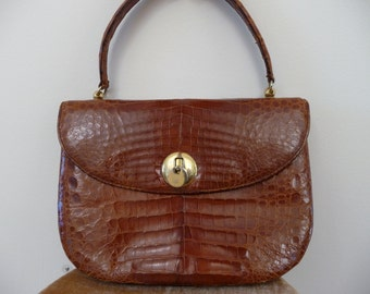 Vintage 30s Genuine In Walked the Lady with the Alligator Purse