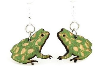 Cute little Poison Tree Frog Earrings - Laser Cut Wood from Sustainable Resources