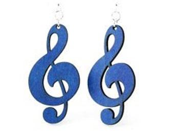 Treble Clef Earrings - Wood