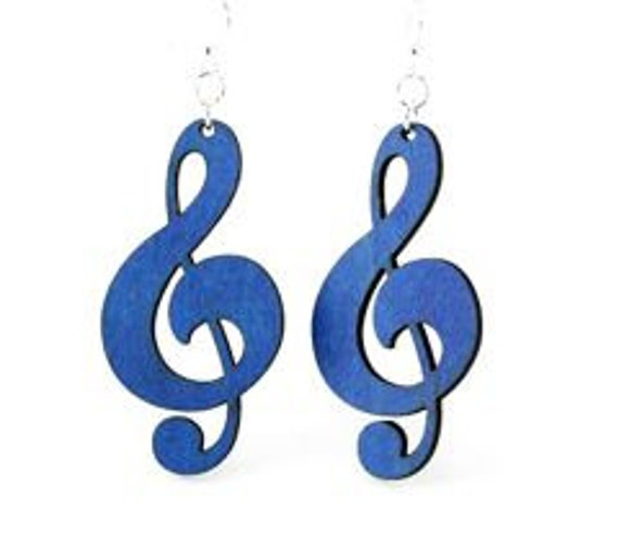 Treble Clef Earrings - Wood