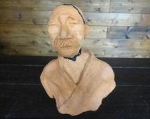 Vintage French Stoneware Clay Jigoro Kano Founder of Judo Figure Statue Bust circa 1950-60's / English Shop