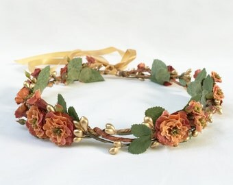 Autumn Flower Crown, Gold Crown, Crown, Flower Crown, Floral Crown, Bridal Flower Crown, Orange, Rose, Autumn Wedding, Rustic, Gold Leaf