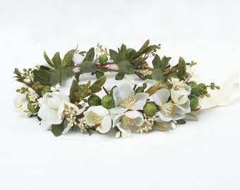 Rustic Woodland Meadow Bridal Headpiece - Flower Crown, Ivory Flower Crown, Bridal Flower Crown, Wedding Crown, Boho, Woodland, Renaissance