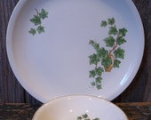 Vintage China Plate and Small Bowl - Paden City Pottery - Ivy in Vase Design