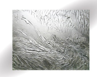 Metallic Silver Abstract Original Painting Impasto Pallet Knife Textured Art- 24 x 30- by Skye Taylor