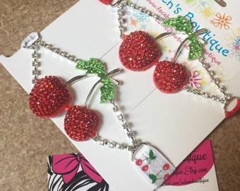 Rhinestone Cherry Headband -Two Elastic Options