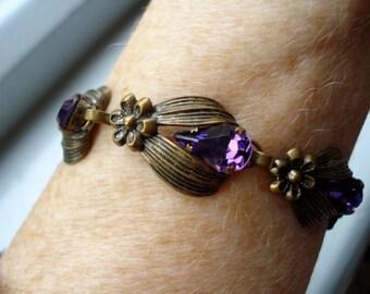 30's Czech Bracelet Amethyst Glass Rhinestones