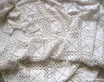 Vintage French White Crochet Bedspread Bed Cover or Throw with Scalloped Edge