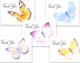 Artistic Watercolor Butterfly Thank You note cards, five cards w/envelopes