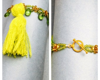 Boho layering Bracelet, Summer Fashion, green tassel, beaded, Hand Made in The USA, Item No. De058