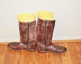 Yellow Boot Cuffs, Multicolor Crochet Toppers, Boot Socks, Faux Leg Warmers, Stretchy, Made in the USA,