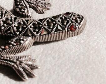 Vintage Sterling Silver Marcasite Lizard/Salamander Pin, Brooch, Lapel Pin, Vintage Jewelry