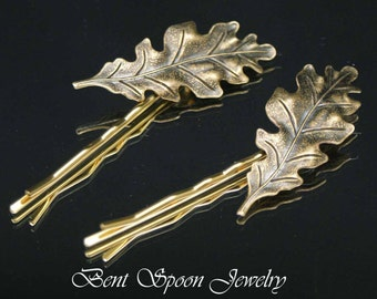Golden Brass Oak Leaf Hair Pins, Set of two Brass Oak Leaf Bobby pins, Hair Jewelry