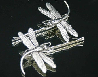 Silver Dragonfly  Hair Pins, Set of two Silver Ox Dragonfly Bobby pins, Hair Jewelry, Bent Spoon Jewelry