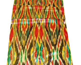 SALE Amazing Vintage colorful  Atlas Ikat,  Dress Decor fabric, 100% silk Original Uzbek handcrafted 3yard  7  ench