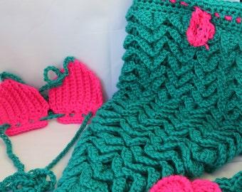 Crochet Newborn Mermaid Photo Prop Teal and Hot Pink