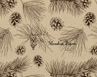 Pine Cones Wrapping Paper - SPS1390 Christmas - Gift Wrap - Kraft Wrap - Kraft Wrap  - Scrapbooking - Party Supply