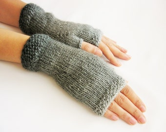 Ombre Gray Fingerless Gloves,  Wool Mittens, Women Arm Warmers, Hand Knitted, Eco Friendly,