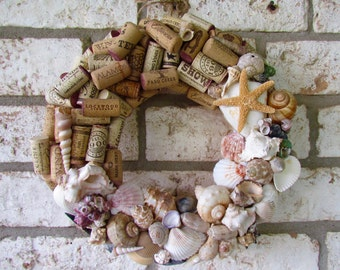 Seashell and Wine Cork Wreath
