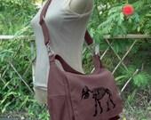 Brown travel bag, canvas messenger bag with screen print, school bag for girls and boys, womens shoulder bag