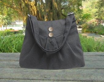Black purse / cross body bag / messenger bag / shoulder bag / diaper bag  - cotton canvas, zipper inside pocket
