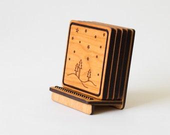 Wooden Coaster Set - Twilight